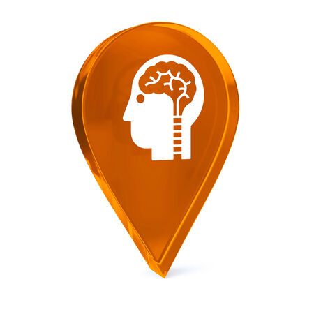 neuroscience: Glass GPS marker icon with white health care sign or symbol
