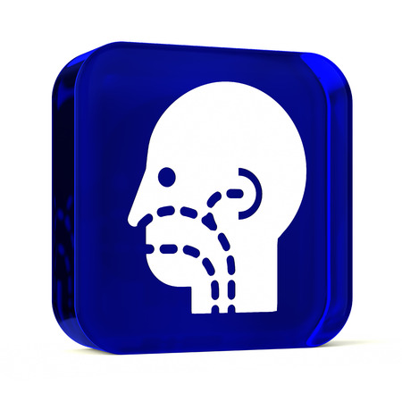 otorhinolaryngology: Glass button icon with white health care sign or symbol Stock Photo