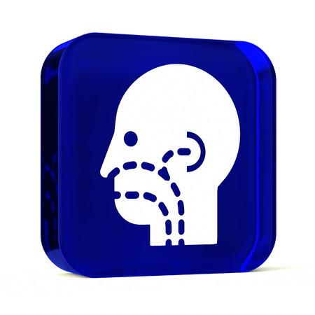 otorhinolaryngology: Vetro icona del pulsante con il bianco sanitario segno o un simbolo