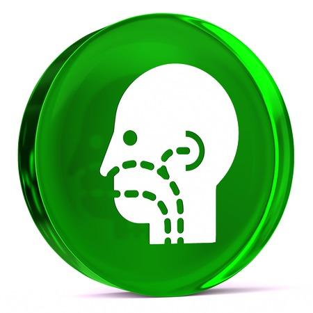 otorhinolaryngology: Round glass icon with white health care sign or symbol