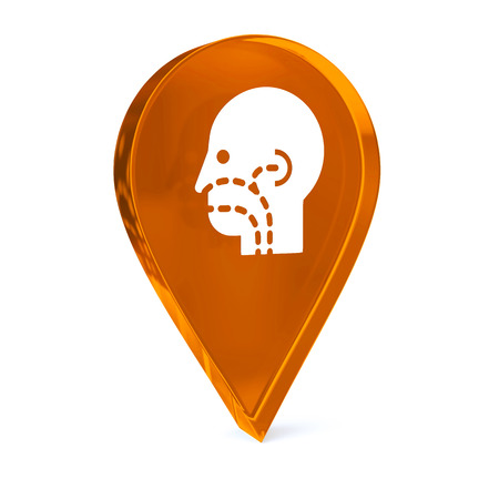 otorhinolaryngology: Glass GPS marker icon with white health care sign or symbol