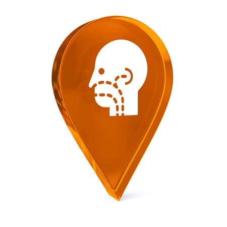 otorhinolaryngology: Icona marcatore GPS vetro con bianco sanitario segno o un simbolo Archivio Fotografico