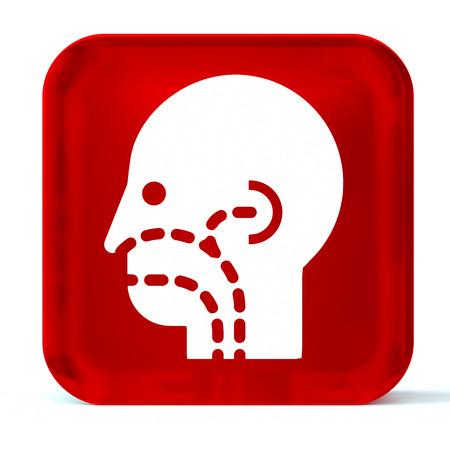 otorhinolaryngology: Vetro icona del pulsante con il bianco cure sanitarie segno o un simbolo