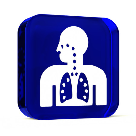 airway: Glass button icon with white health care sign or symbol Stock Photo