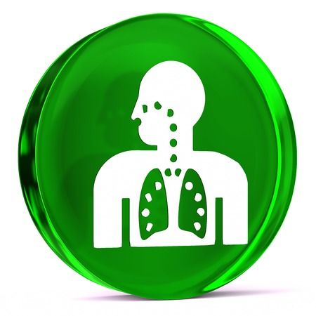 airway: Round glass icon with white health care sign or symbol