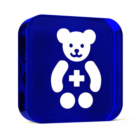 neonate: Glass button icon with white health care sign or symbol Stock Photo