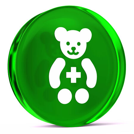 paediatrics: Round glass icon with white health care sign or symbol
