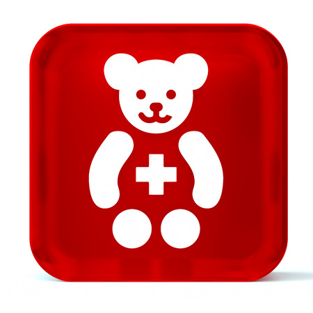 paediatrician: Glass button icon with white health care sign or symbol Stock Photo