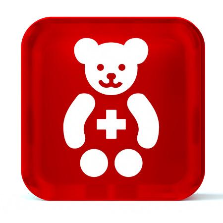 paediatrics: Glass button icon with white health care sign or symbol Stock Photo