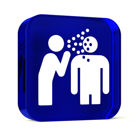 transmissible: Glass button icon with white health care sign or symbol Stock Photo