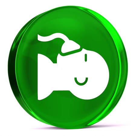 Round glass icon with white health care sign or symbol