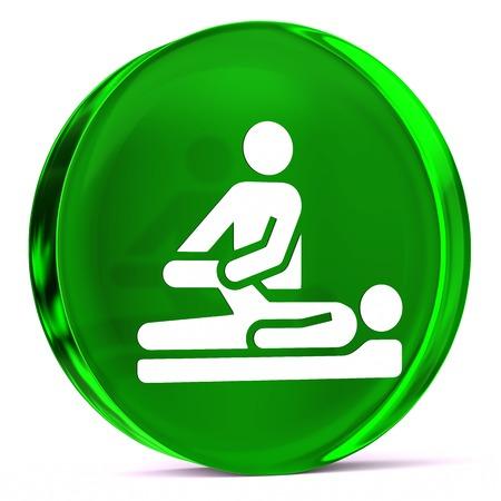 terapia ocupacional: Icono de cristal redondo con blanco signo de atención médica o símbolo