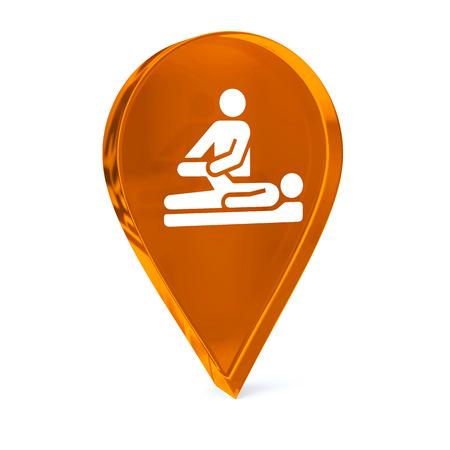 terapia ocupacional: Icono de marcador de cristal GPS con la muestra blanca de atención médica o símbolo