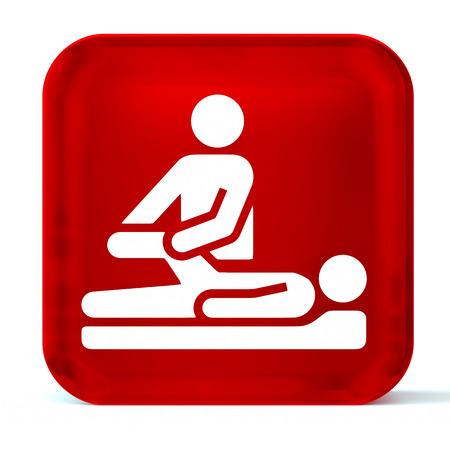 terapia ocupacional: Icono del botón de cristal con la muestra blanca de atención médica o símbolo