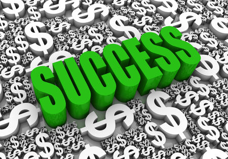 Success 3D text surrounded by dollar currency symbols. Part of a series. photo