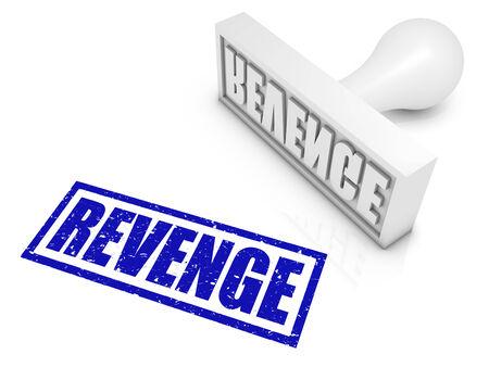 venganza: Sello de goma VENGANZA. Parte de una serie de conceptos de sello.