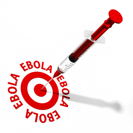 infective: Ebola text and red target with syringe in the center