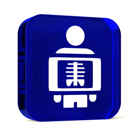 radiography: Glass button icon with white health care sign or symbol Stock Photo