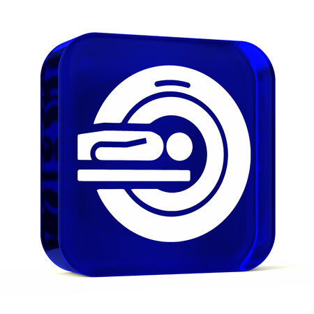 medical scanner: Glass button icon with white health care sign or symbol Stock Photo