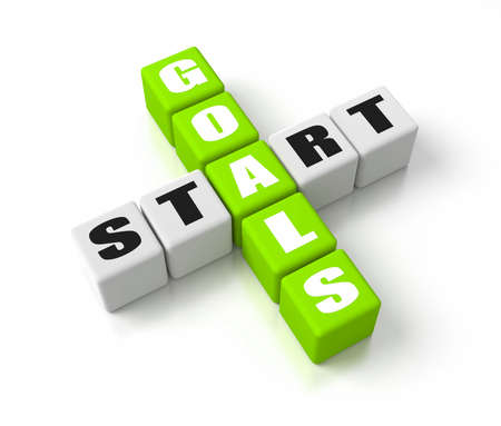 Start Defining Goals crosswords. Part of a business concepts series. photo