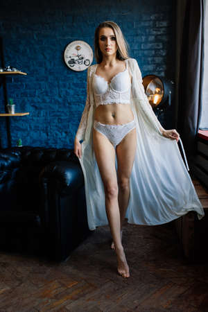 Art boudoir fashion photo of beautiful gorgeous woman in lingerie. Perfect body, wedding style. Bridal morning Banque d'images