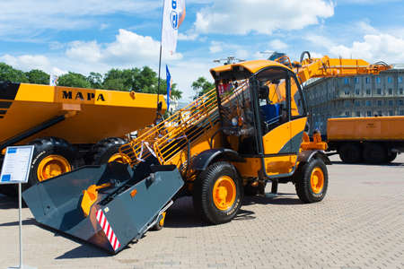 Minsk, Belarus - 07.14.2020. Combines and tractors agricultural machinery exibition Editoriali