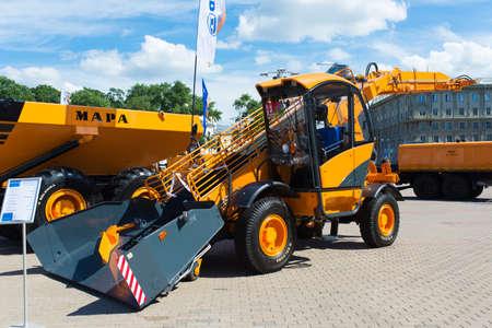 Minsk, Belarus - 07.14.2020. Combines and tractors agricultural machinery exibition Redakční
