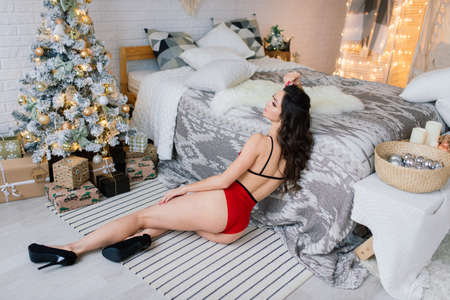 Tall slender female in lingerie in Christmas atmosphere. Portrait with lights. Stock Photo