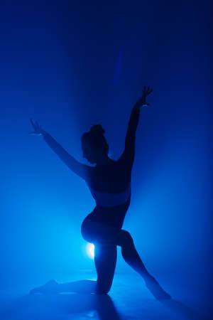 Professional ballerina dancing ballet in spotlights smoke on big stage. Beautiful young female wearing black bodysuit on floodlights background.