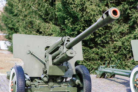 View of the russian cannons and howitzers in park. Military museum outdoors