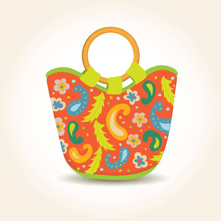 Summer Woman Bag with China Print Vector