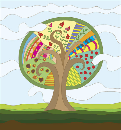 fairy tree: Fairy Tree vector illustration with different leaves, fruits and berries