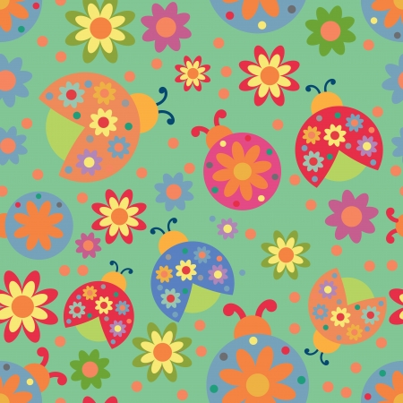 Vector seamless pattern with ladybirds and circles Vector