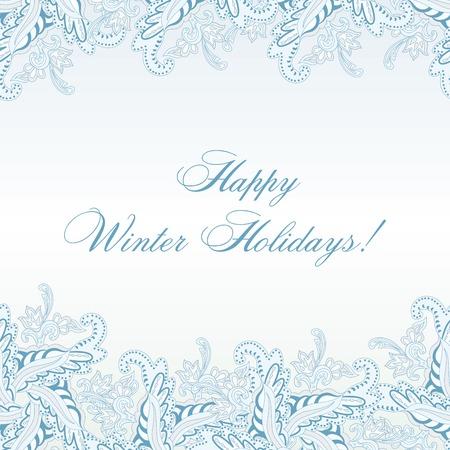 horisontal: Winter Paisley Horisontal Seamless Pattern