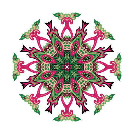 Round Vector Floral Ornament with Hearts with Paisley Vector