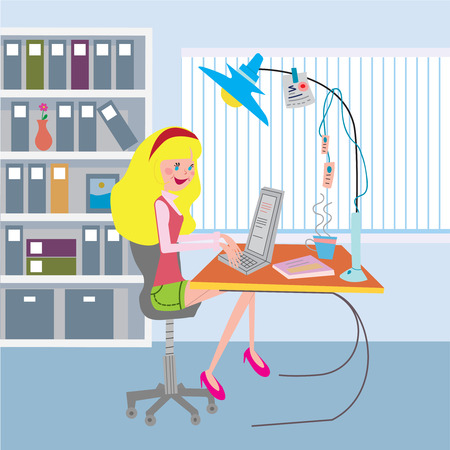 Girl working at the office with notebook. Isolated. Vector illustration. Vector