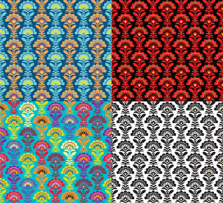 Vector backgrounds. Set of four seamless patterns Vector