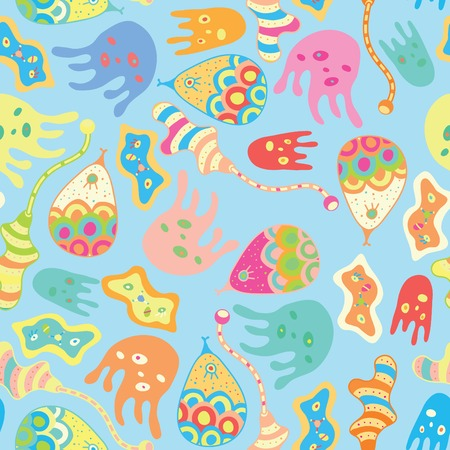 Cartoon octopuses. Seamless vector pattern. Kids background Vector