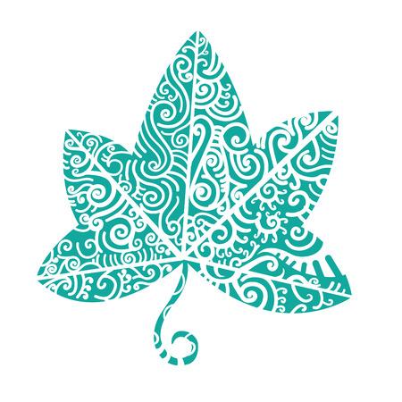 Tribal tattoo. Klimop blad. Stammenmotief is goed voor inheemse thema en verschillende tatoos. Stock Illustratie