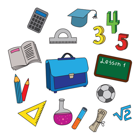 Set of school icons.  Vector