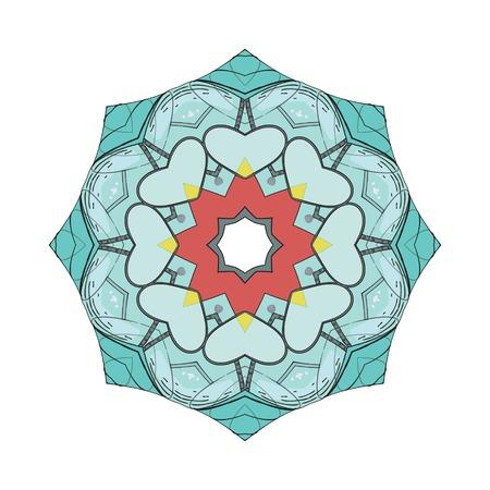 Circle mandala with Machine elements. Cartoon stylized illustration. Decorative element for design. Vector illustration Vector