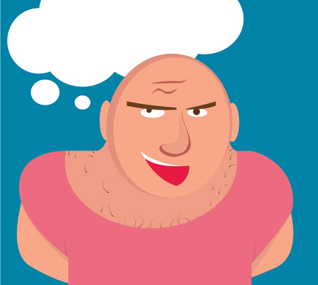 hairy chest: Big Bald Man with Muscles and Hairy chest.  Sports Coach talking with students. Comics style. Cartoon character. Illustration