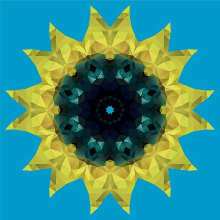 Sunflower crystal illustration. Vector illustration. Stained glass imitation Vector