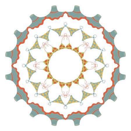 Beach tropic mandala. An abstract circle ornament Vector