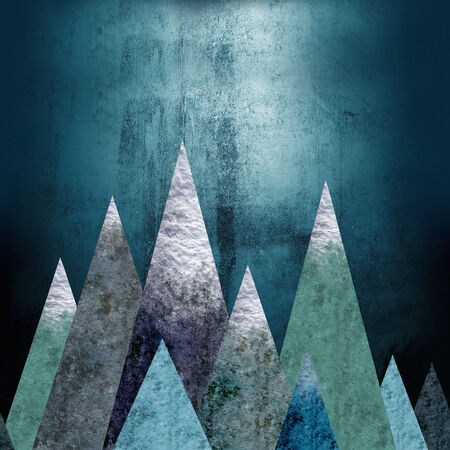 boldness: Mountains - a place of adventure. Seamless horizontal background. Grungy texture. Retro style. Dark cool colors. Raster illustration. Stock Photo