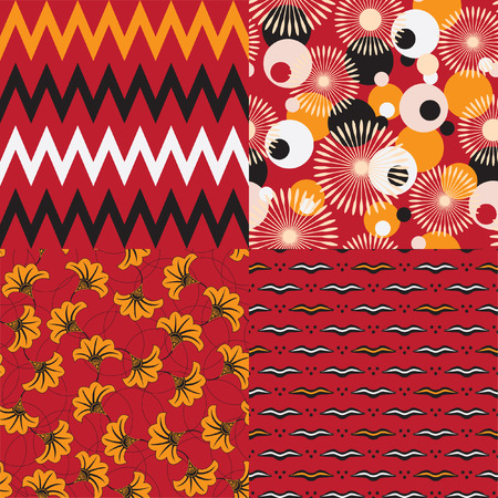 Set of four seamless african patterns. Vector background. Vector