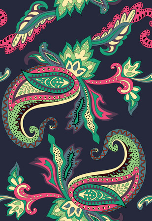 broun: Seamless pattern on an Eastern theme with ornament Paisley. Hipster vintage colors. Russian ornaments. Dark background. Creative work