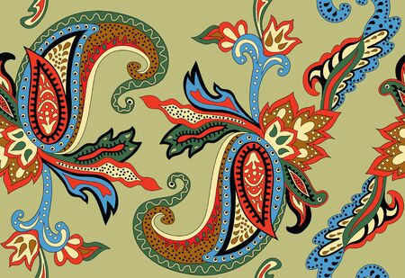flower sketch: A seamless pattern on an Eastern theme with ornament Paisley Illustration