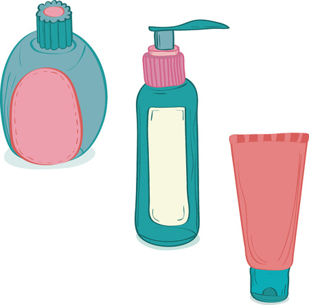 pimples: Vector illustration of three Cosmetic bottles