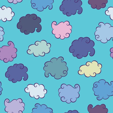 ร   ร   ร   ร  ร ยข  white clouds: White Clouds on the blue sky background. Seamless Pattern Illustration